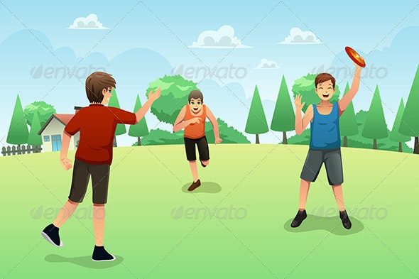 Young People Playing Frisbee - Sports/Activity Conceptual