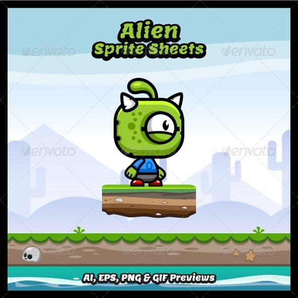 Running & Jumping Alien Sprite Sheets