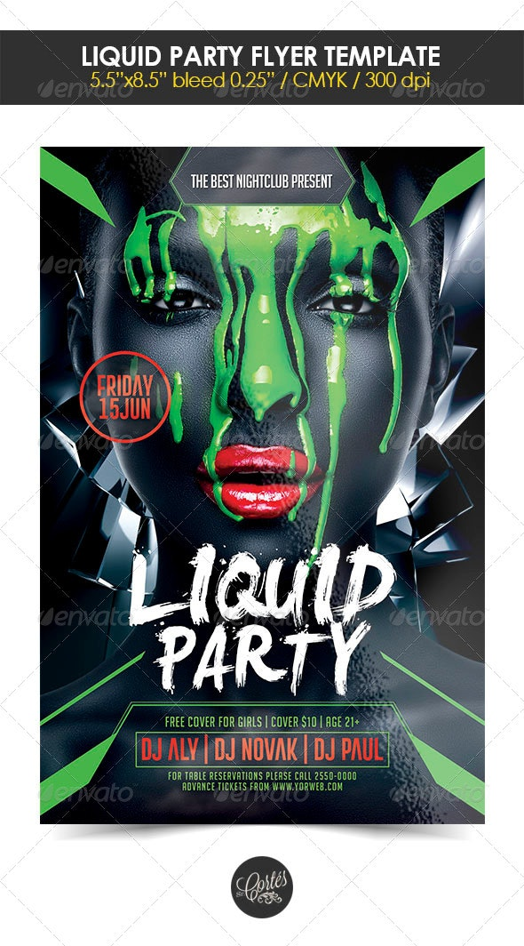 Liquid Party Flyer Template - Clubs & Parties Events