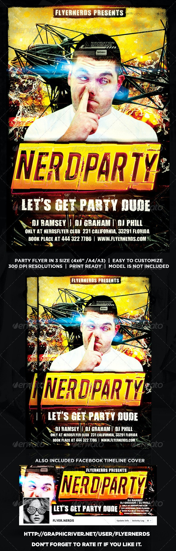 Nerd Party Flyer - Clubs & Parties Events