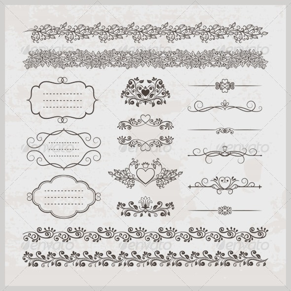 Page Decoration Borders Frames and Hearts - Borders Decorative