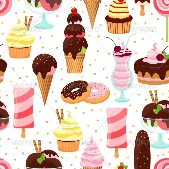 Ice Cream and Sweets Seamless Pattern - Food Objects