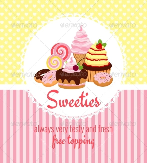 Greeting Card Template with Sweets and Candy - Food Objects