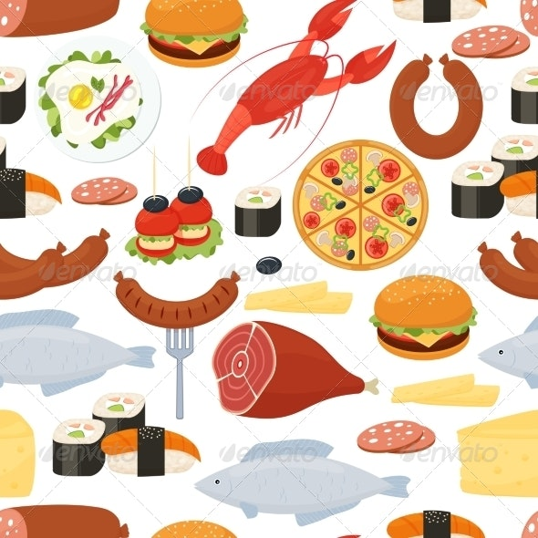 Seamless Food Pattern in Flat Style - Food Objects