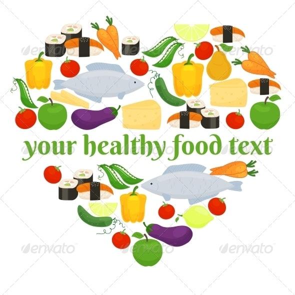 Various Foods in Heart Shape Arrangement - Food Objects