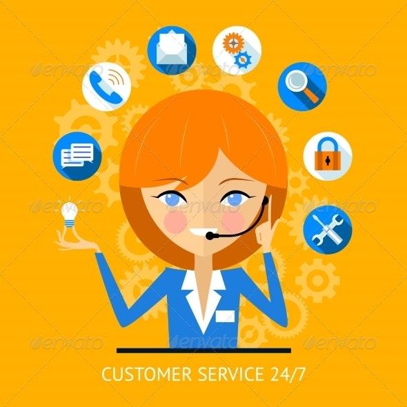 Customer Service Icon of a Call Center Girl - Web Technology