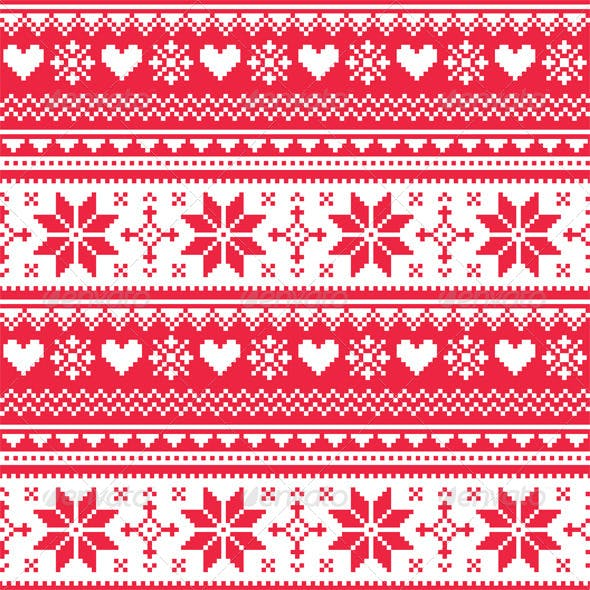 Nordic Seamless Knitted Christmas Red Pattern