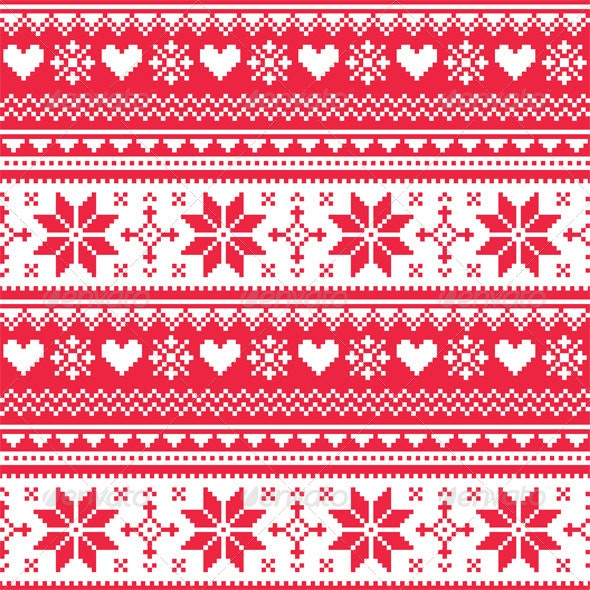 Nordic Seamless Knitted Christmas Red Pattern - Patterns Decorative