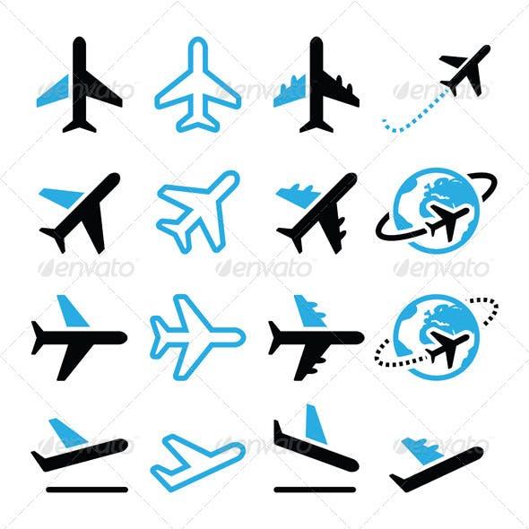 Plane, Flight, Airport Black and Blue Icons Set