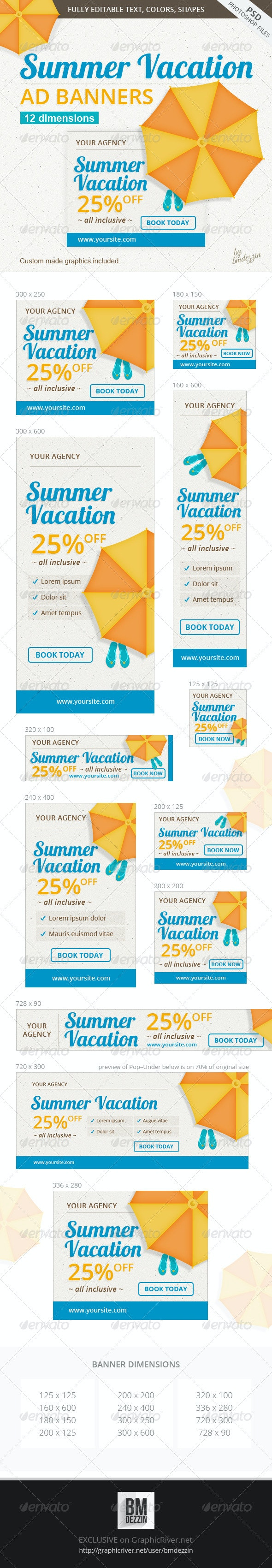 Summer Vacation Ad Banners - Banners & Ads Web Elements