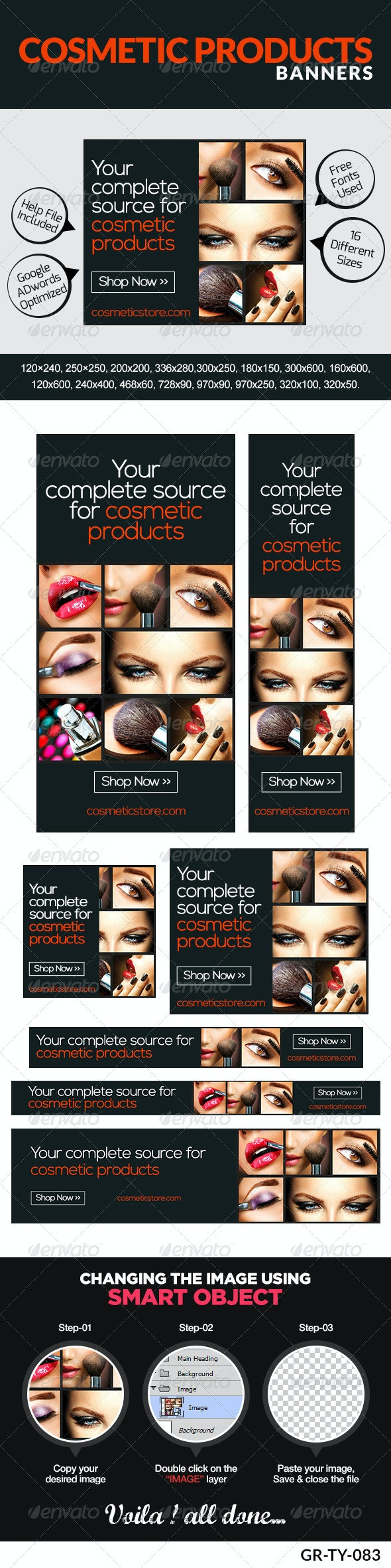 Cosmetic & Makeup Banners - Banners & Ads Web Elements