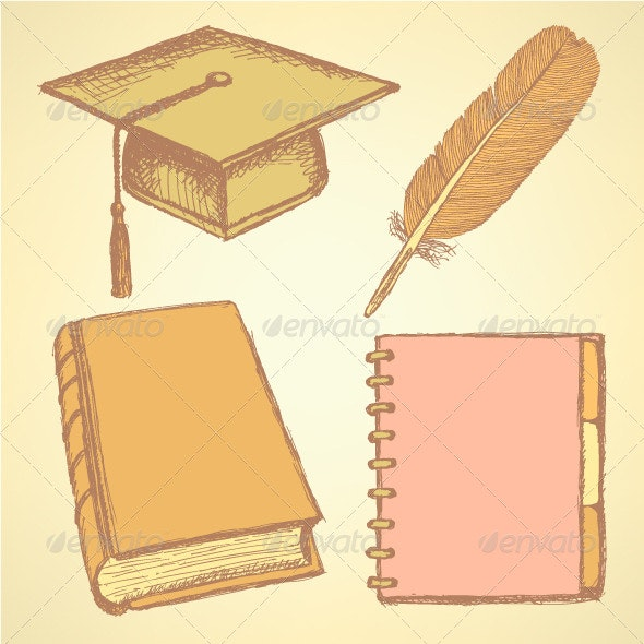 Sketch Graduation Cap Feather Notebook and Book - Backgrounds Decorative