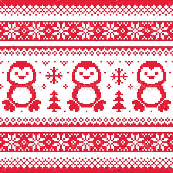 Christmas Winter Knitted Pattern with Penguins  - Christmas Seasons/Holidays