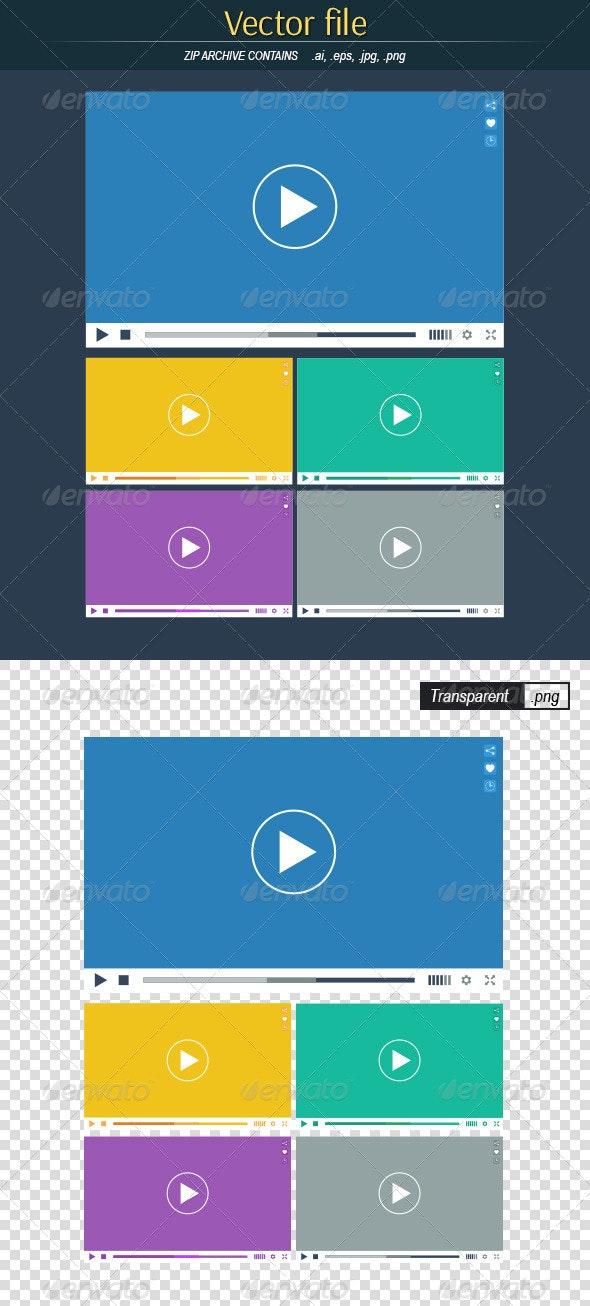 Flat Video Players - Web Elements Vectors
