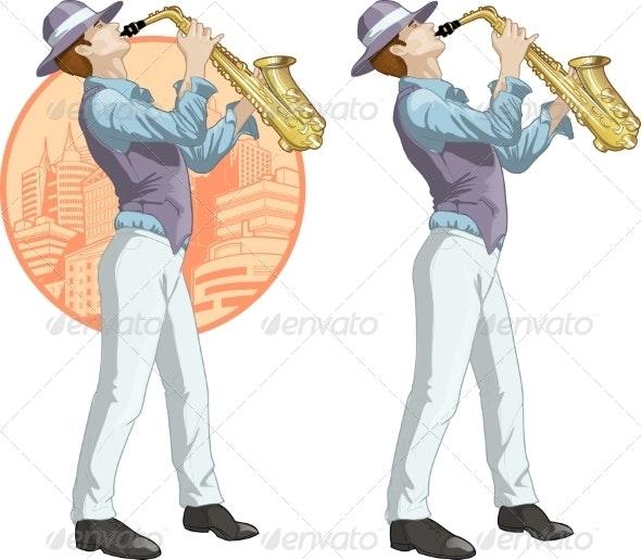 Retro Musician Cartoon Character - People Characters