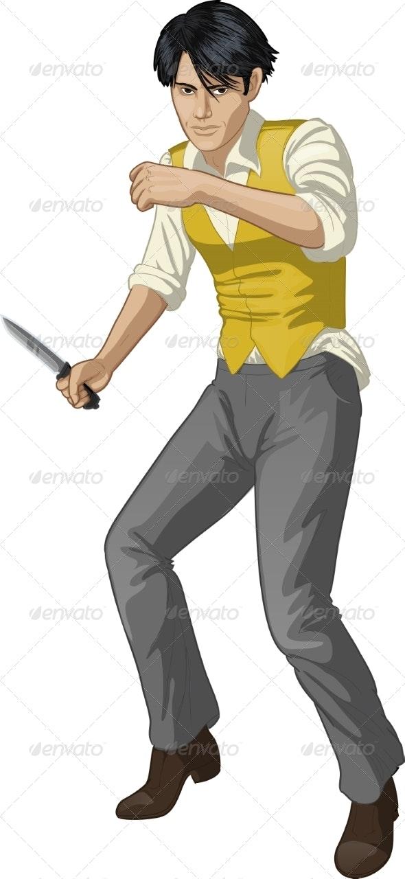 Brawling Man Cartoon Character - People Characters