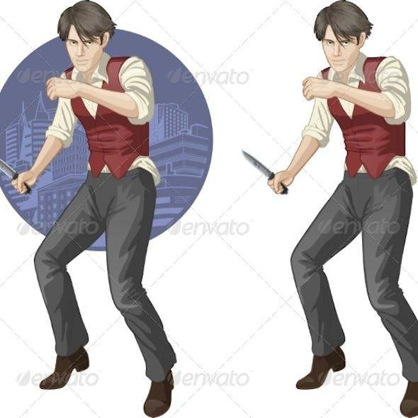 Brawling Man Cartoon Character