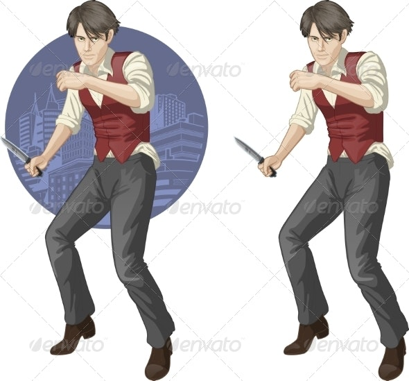 Brawling Man Cartoon Character - People Characters