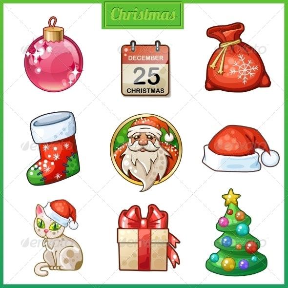 Candy Cartoon Icons Set for Christmas and New Year - Christmas Seasons/Holidays