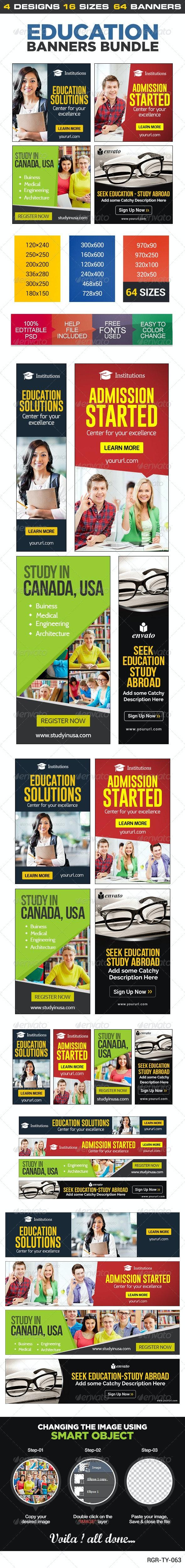 Education Banner Set Bundle - 4 sets - Banners & Ads Web Elements