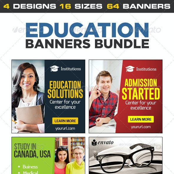Education Banner Set Bundle - 4 sets