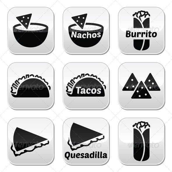 Mexican Food Buttons