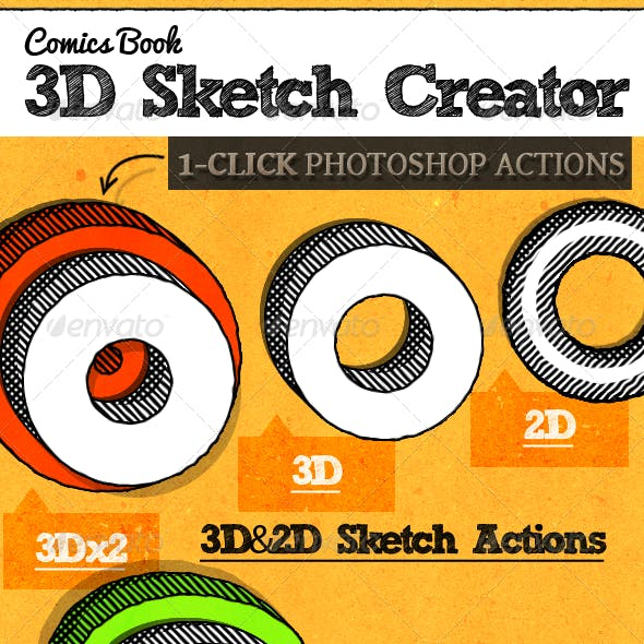 Comic Book 3D Sketch Style Photoshop Actions