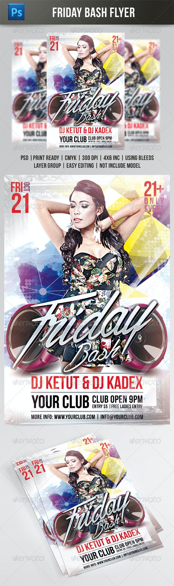 FRIDAY BASH FLYER TEMPLATE - Clubs & Parties Events