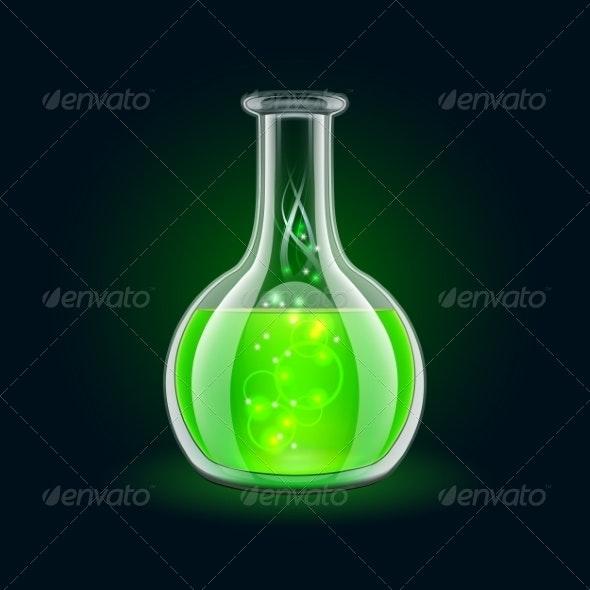 Transparent Flask with Magic Green Liquid - Health/Medicine Conceptual