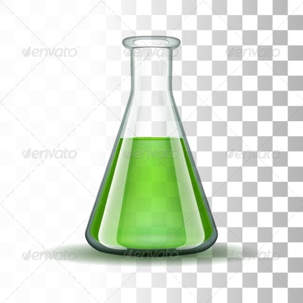 Chemical Laboratory Transparent Flask with Green