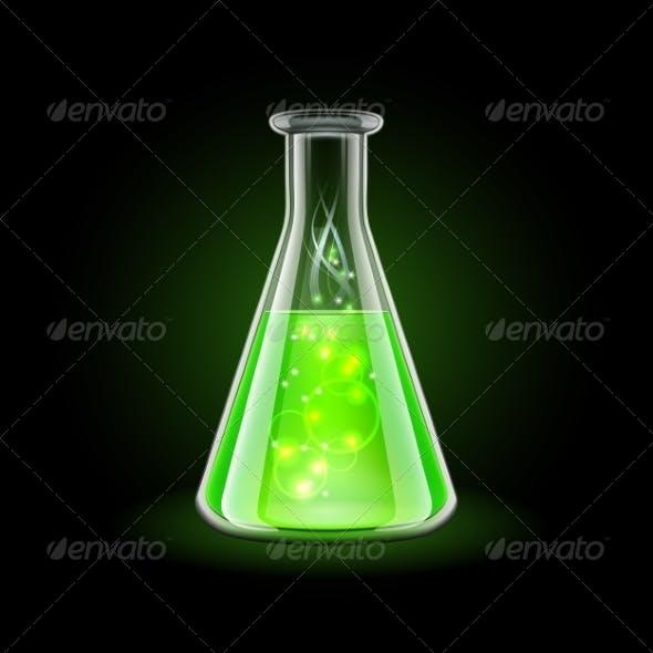 Transparent Flask with Magic Green Liquid