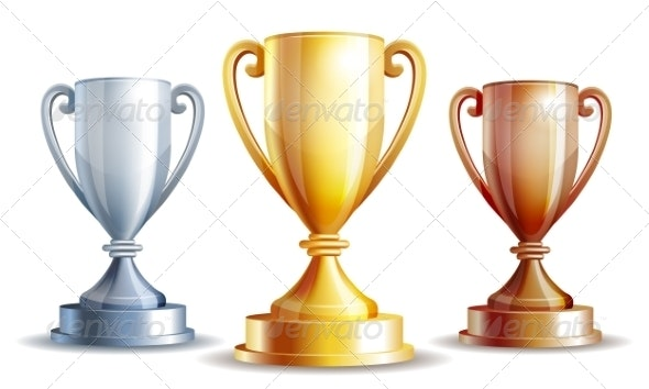 Vector Gold, Silver and Bronze Winners Cup. - Sports/Activity Conceptual