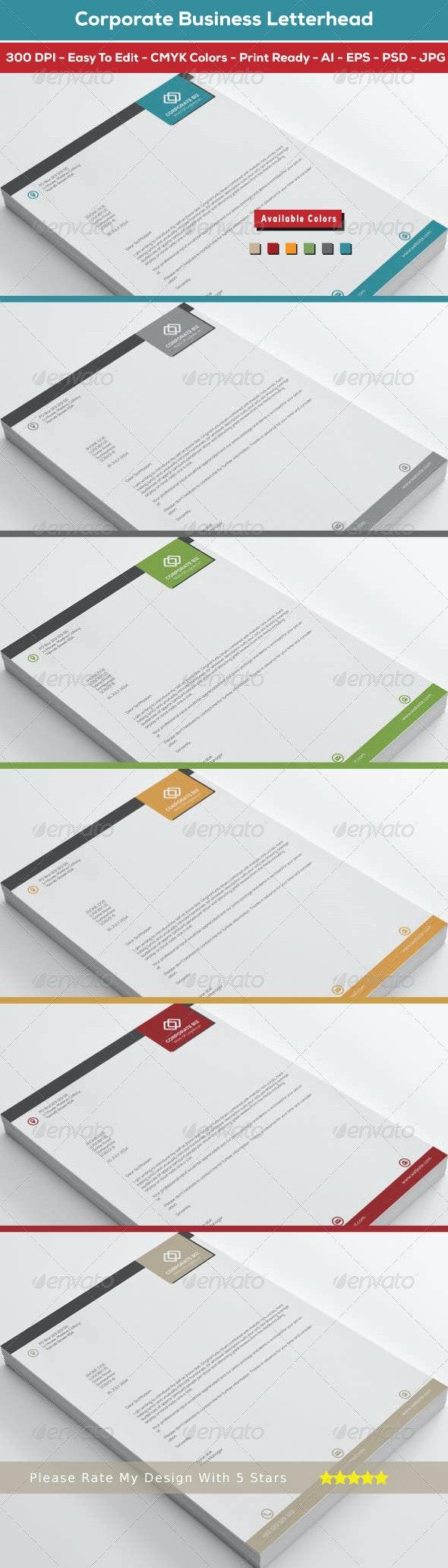 Corporate Business Letterhead - Corporate Business Cards