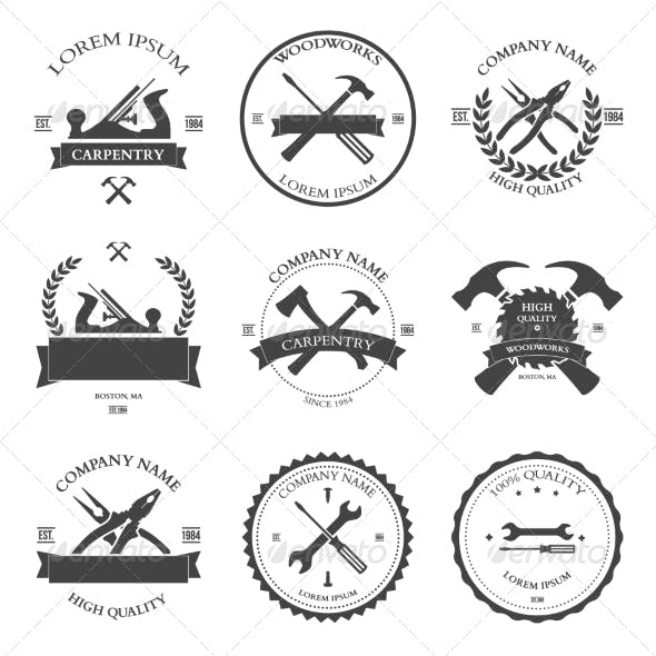 Carpentry Tools. Labels and Design Elements