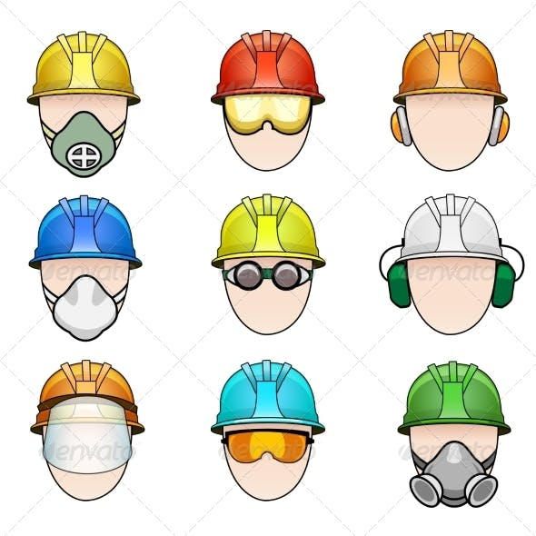 Set of Worker Icons in Helmet with Protective Gear