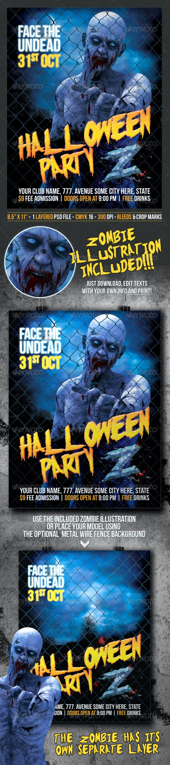 Halloween Party Z Zombie Themed Poster / Flyer - Clubs & Parties Events