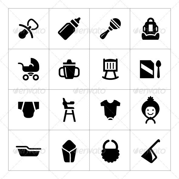 Set Icons of Newborn Baby - Man-made objects Objects