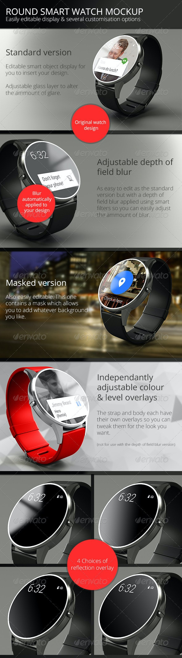 Round Smart Watch Mock-Up - Displays Product Mock-Ups