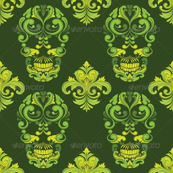 Classic Skull Ornamental Pattern - Patterns Decorative