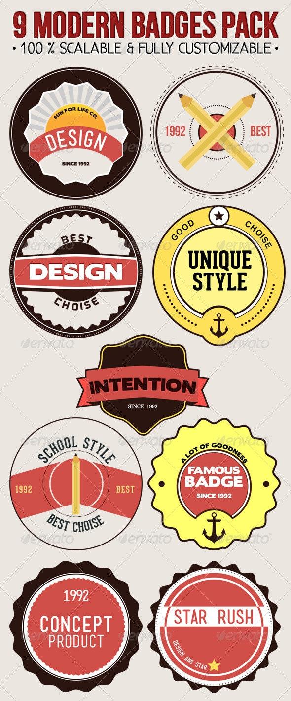 9 Modern Badges Pack - Badges & Stickers Web Elements