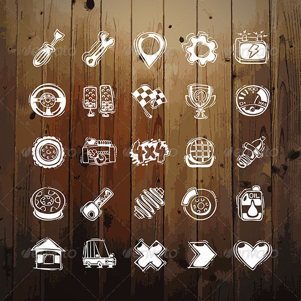 Icons Set of Car Symbols on Wood Texture - Man-made objects Objects