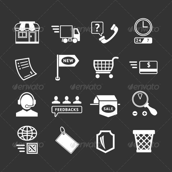 Set Icons of Shopping and E-commerce - Business Icons