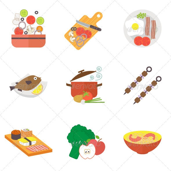 Icon set for Restaurant - Food Objects