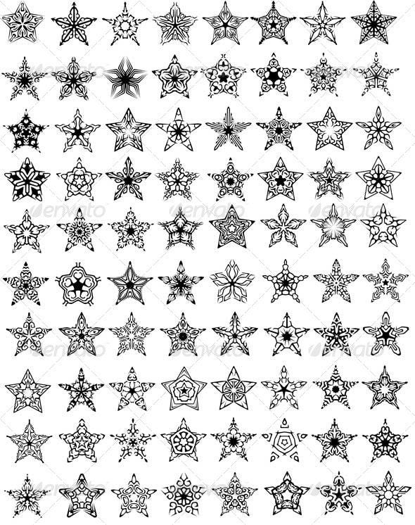80 Unique Stars Design - Decorative Symbols Decorative