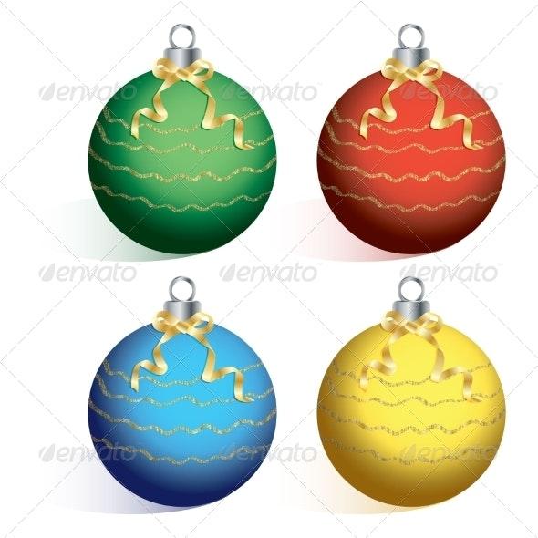 Christmas Balls on White Background - Christmas Seasons/Holidays