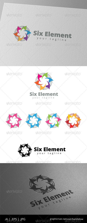 Six Flower Pental Element Community Logo - Symbols Logo Templates