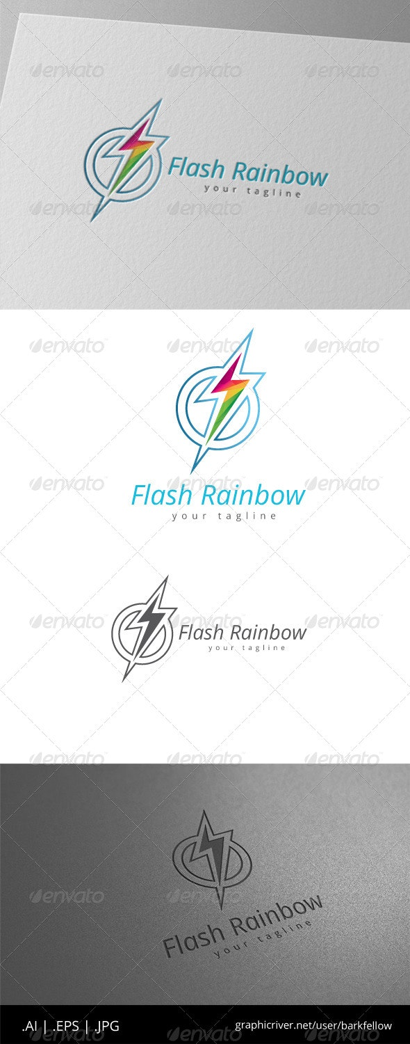 Circle Flash Electric Rainbow Logo - Symbols Logo Templates