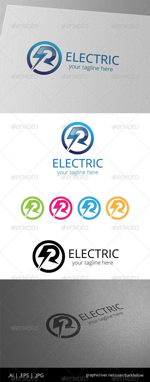 R Electric Flash Power Energy Logo - Letters Logo Templates