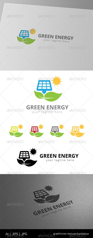 Green Solar Panel Energy Logo - Nature Logo Templates
