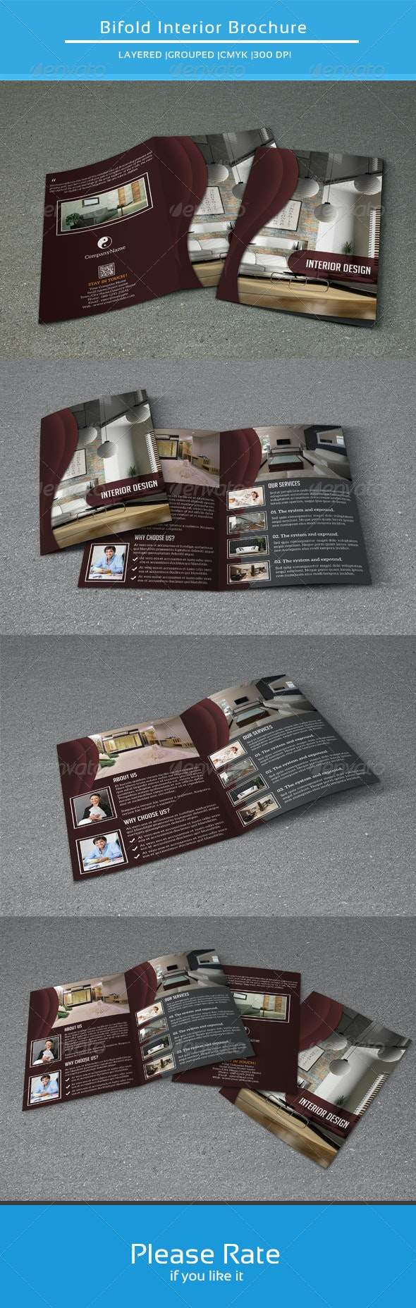 Bifold Brochure for Interior Design-V108 - Corporate Brochures